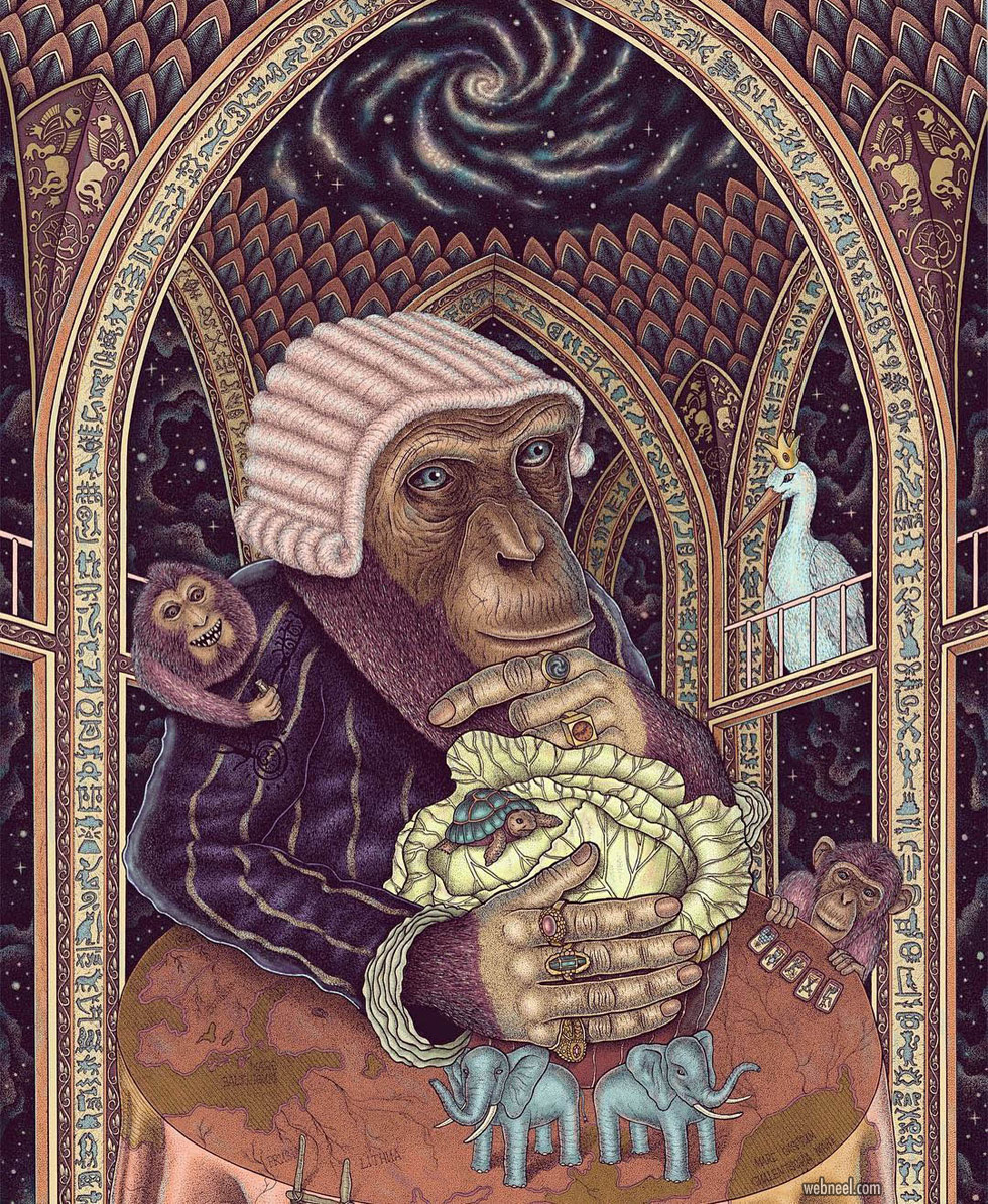 surreal art monkey by dzmitryi kashtalyan
