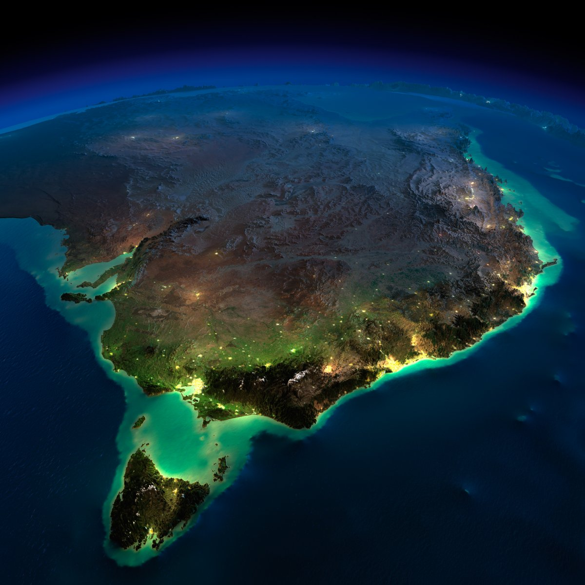 earth night photos east australia