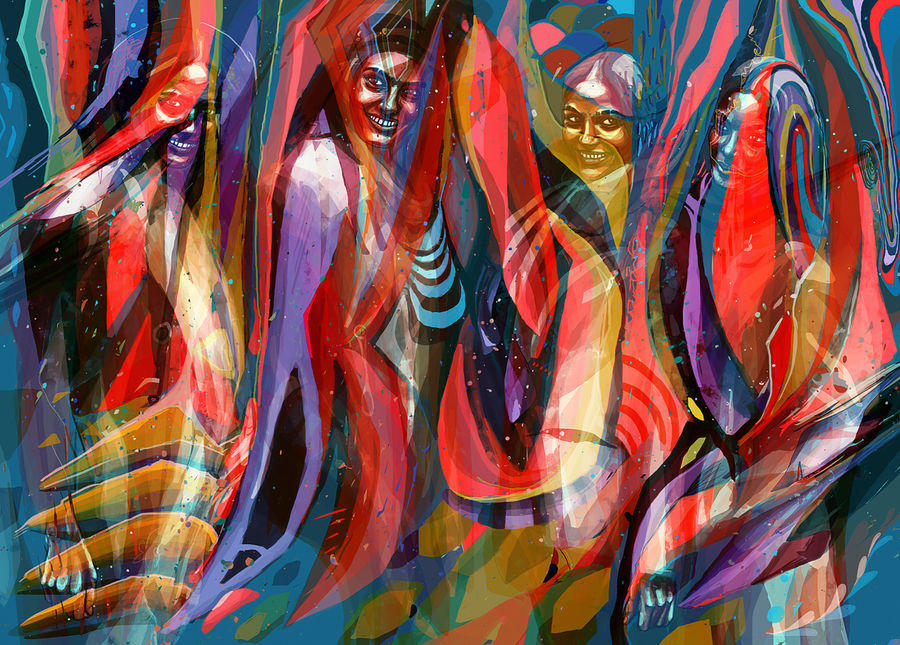 colorful painting ladies