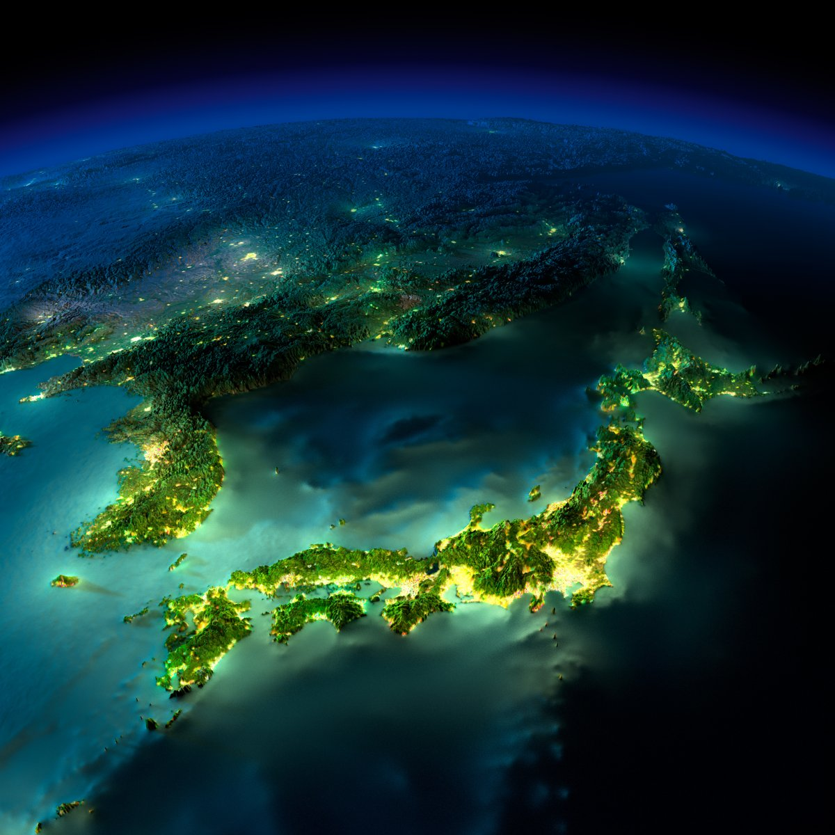 earth night photos japan