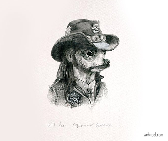 pencil drawing dog lemmy funny by michaelgillette