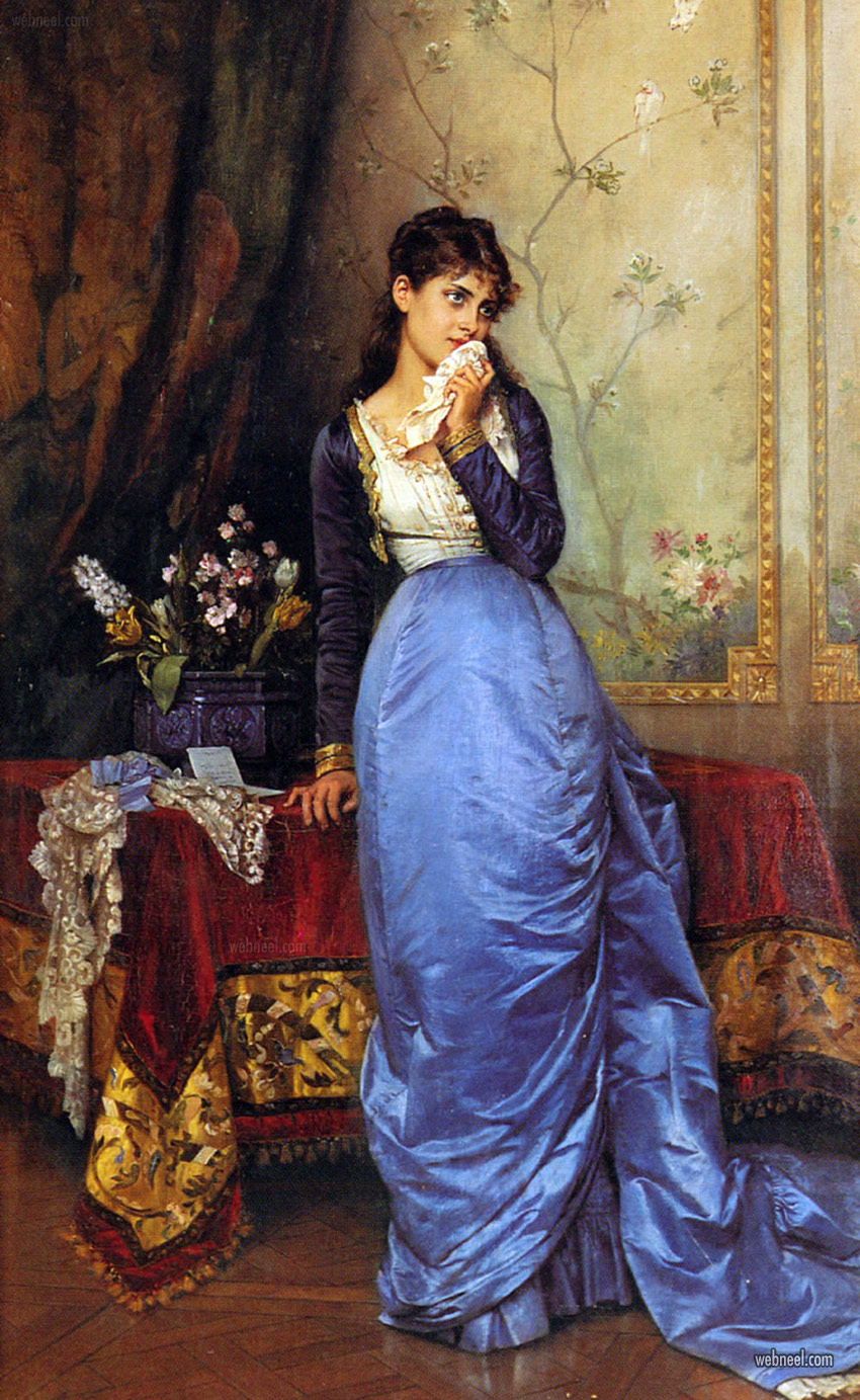 oil painting girl by auguste toulmouche