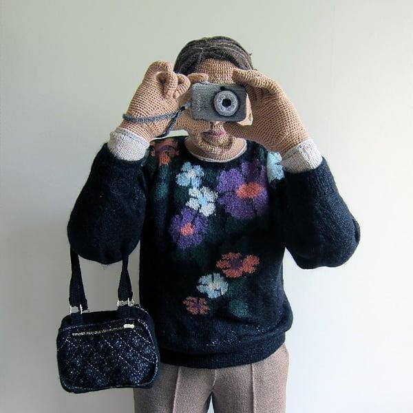 crochet sculpture camera
