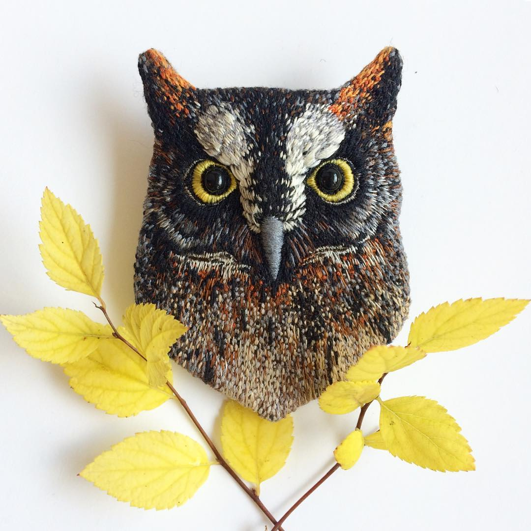 embroidery art owl by paulina bartnik
