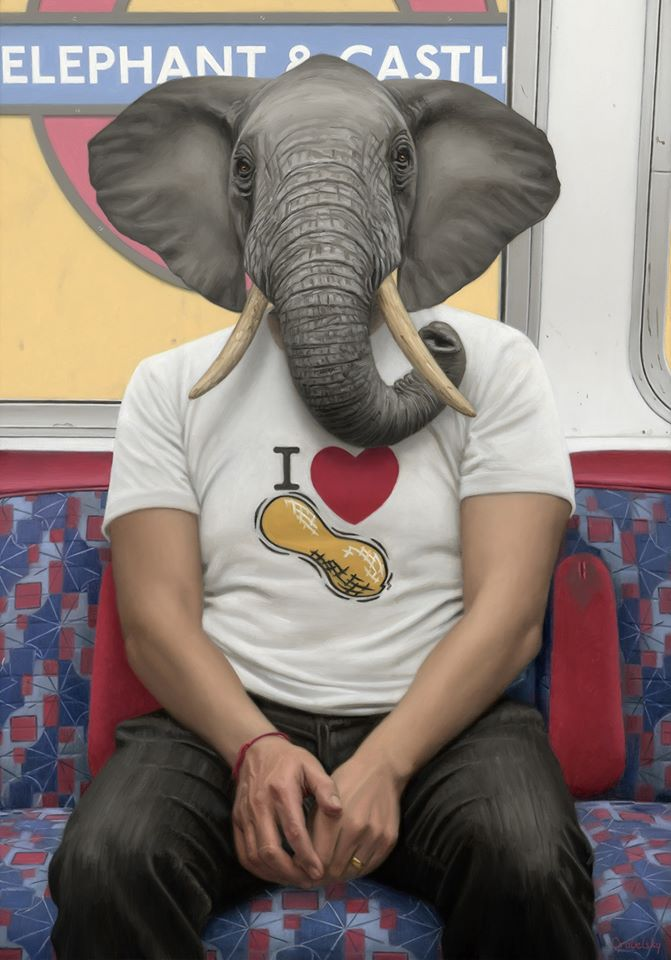 funny oil painting elephant tshirt