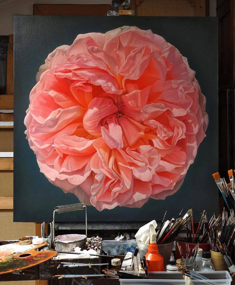 oil painting flower by gioacchino passini