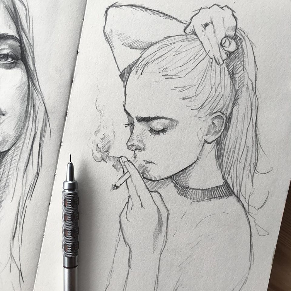 pencil drawing girl cigar