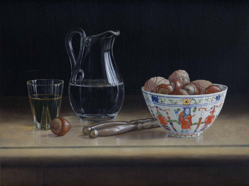 acrylic still life painting nuts by tim gustard
