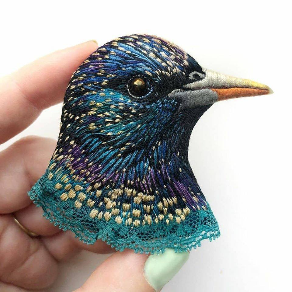 embroidery art blue bird by paulina bartnik