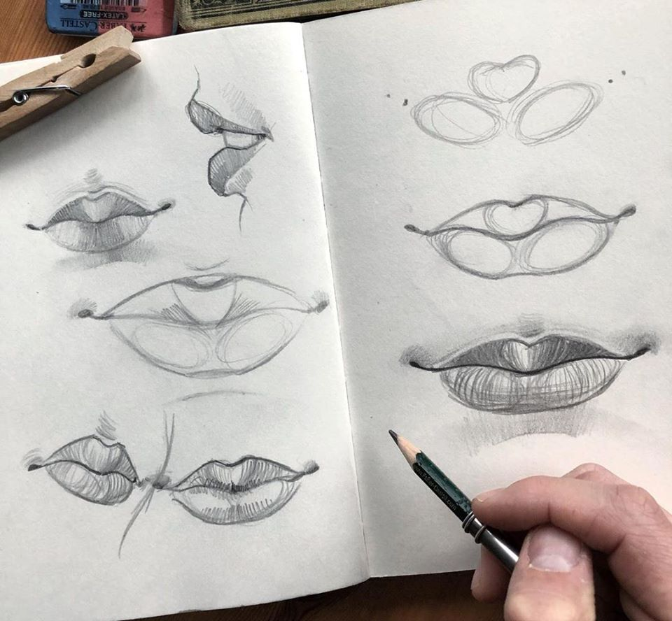 pencil drawing lips