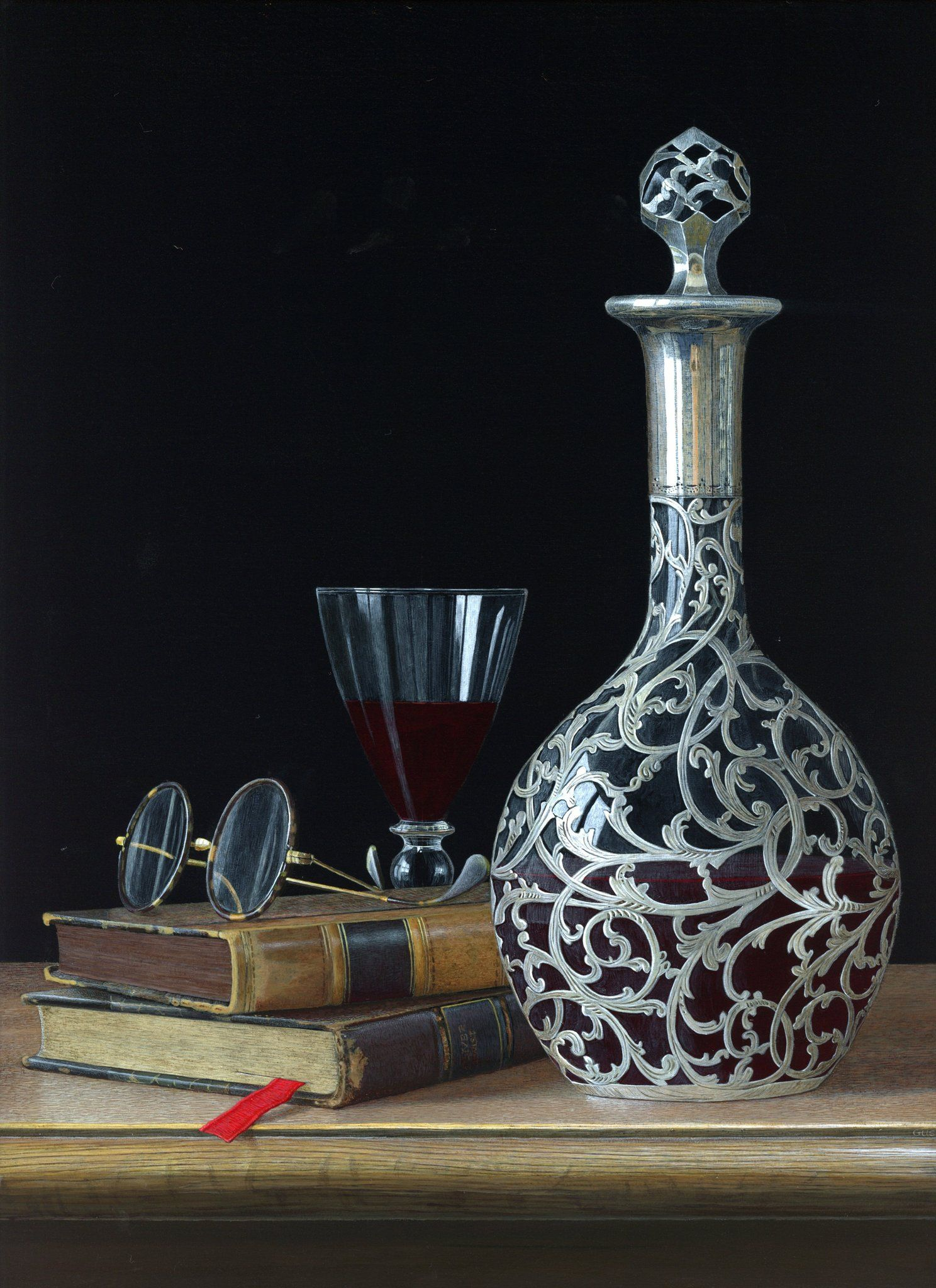 acrylic still life painting wine by tim gustard
