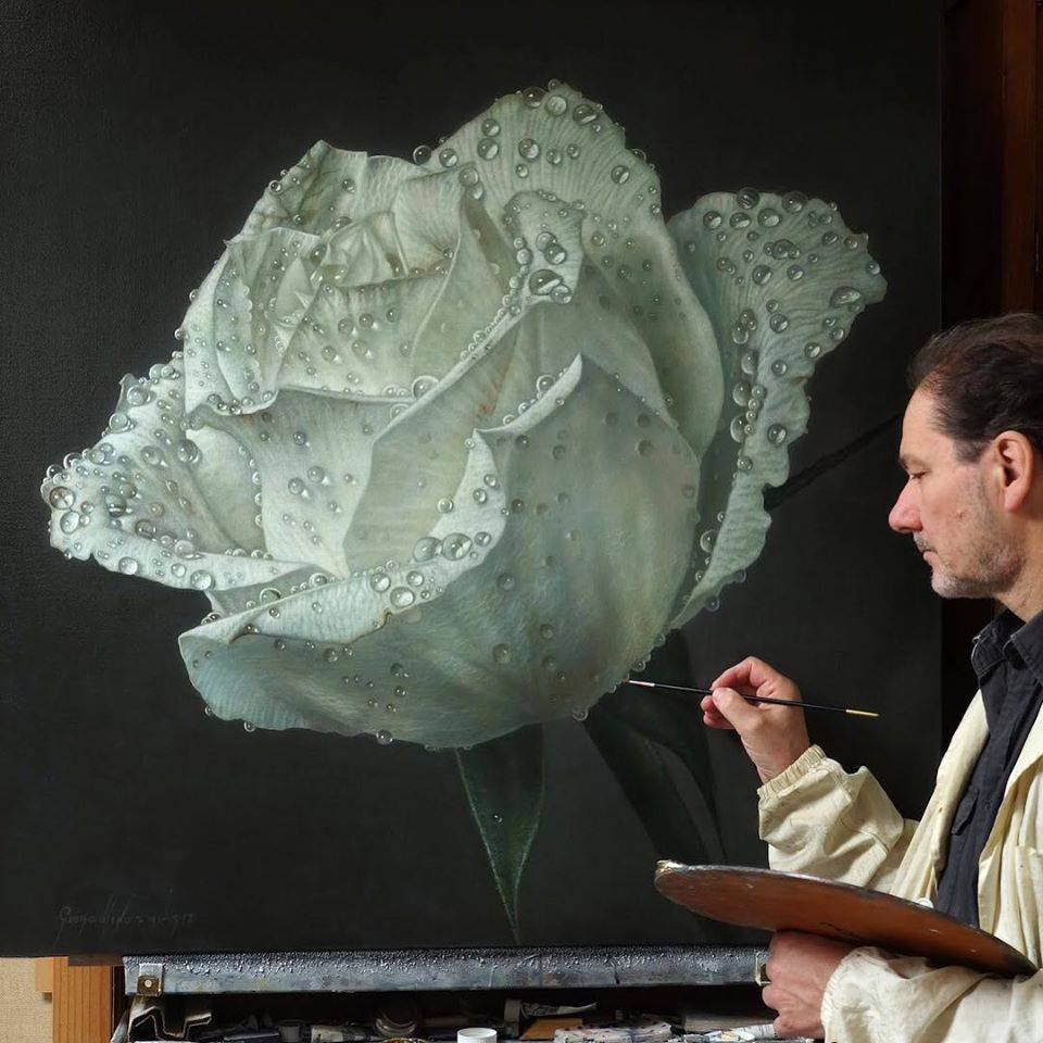 oil painting white roses by gioacchino passini