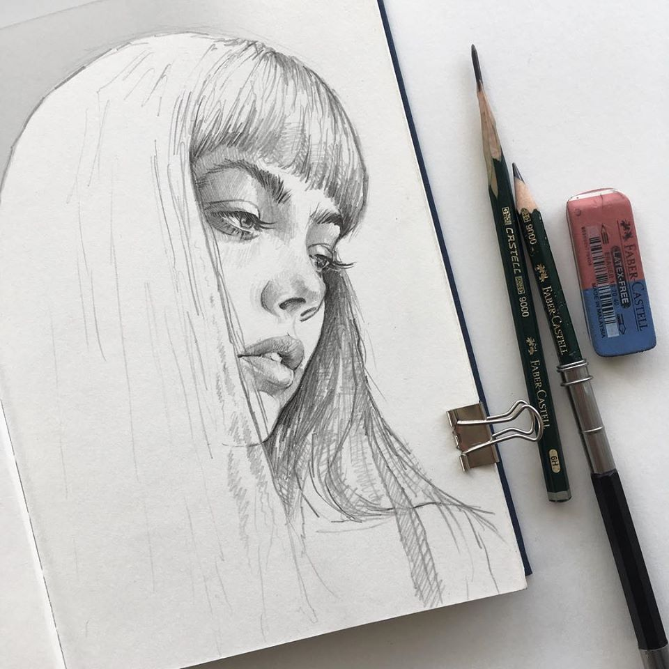 pencil drawing long hair