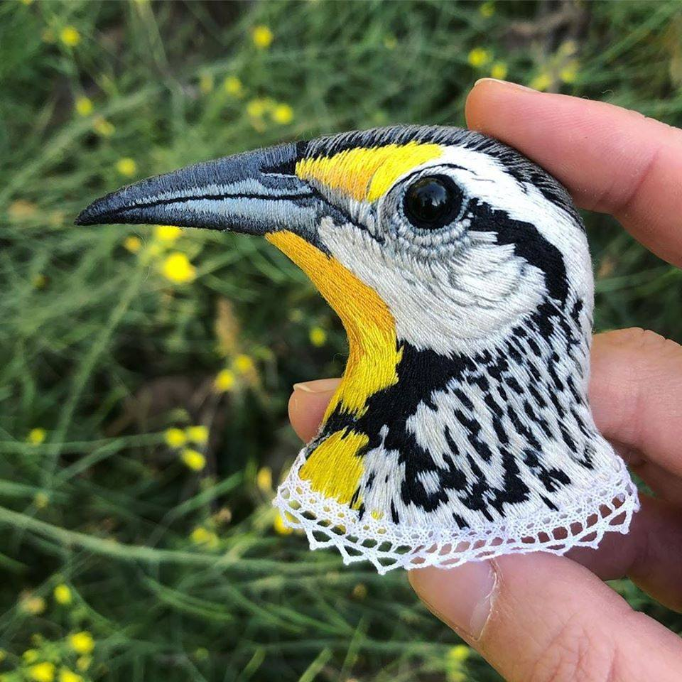 embroidery art yellow spotted bird