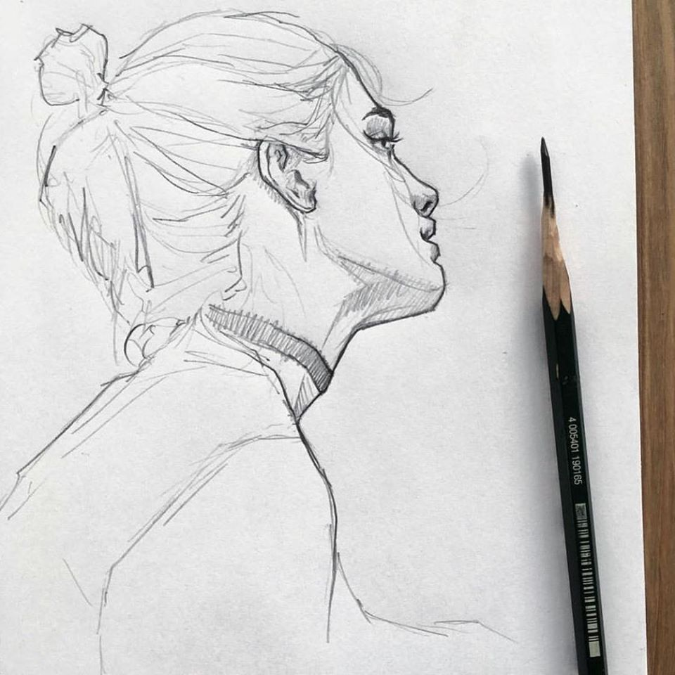 pencil drawing sad girl