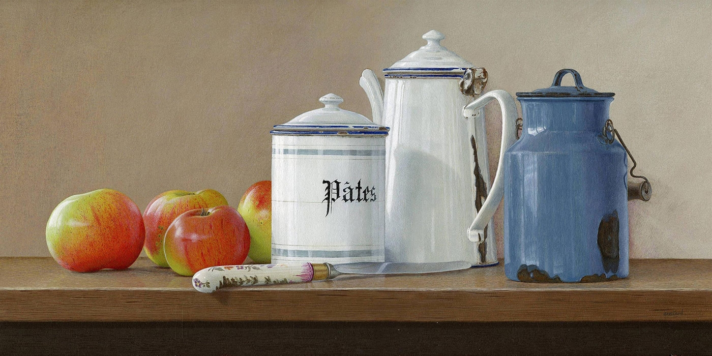 acrylic still life painting pasta tin by tim gustard