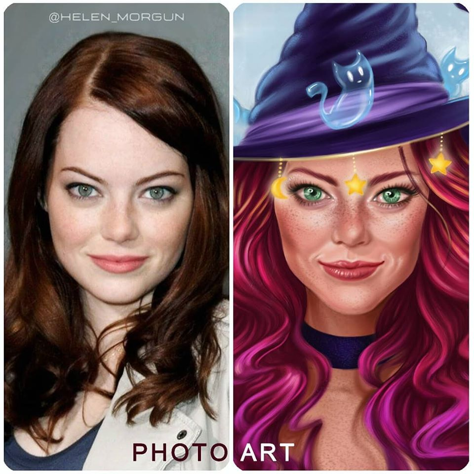 digital art photo to art witch hat