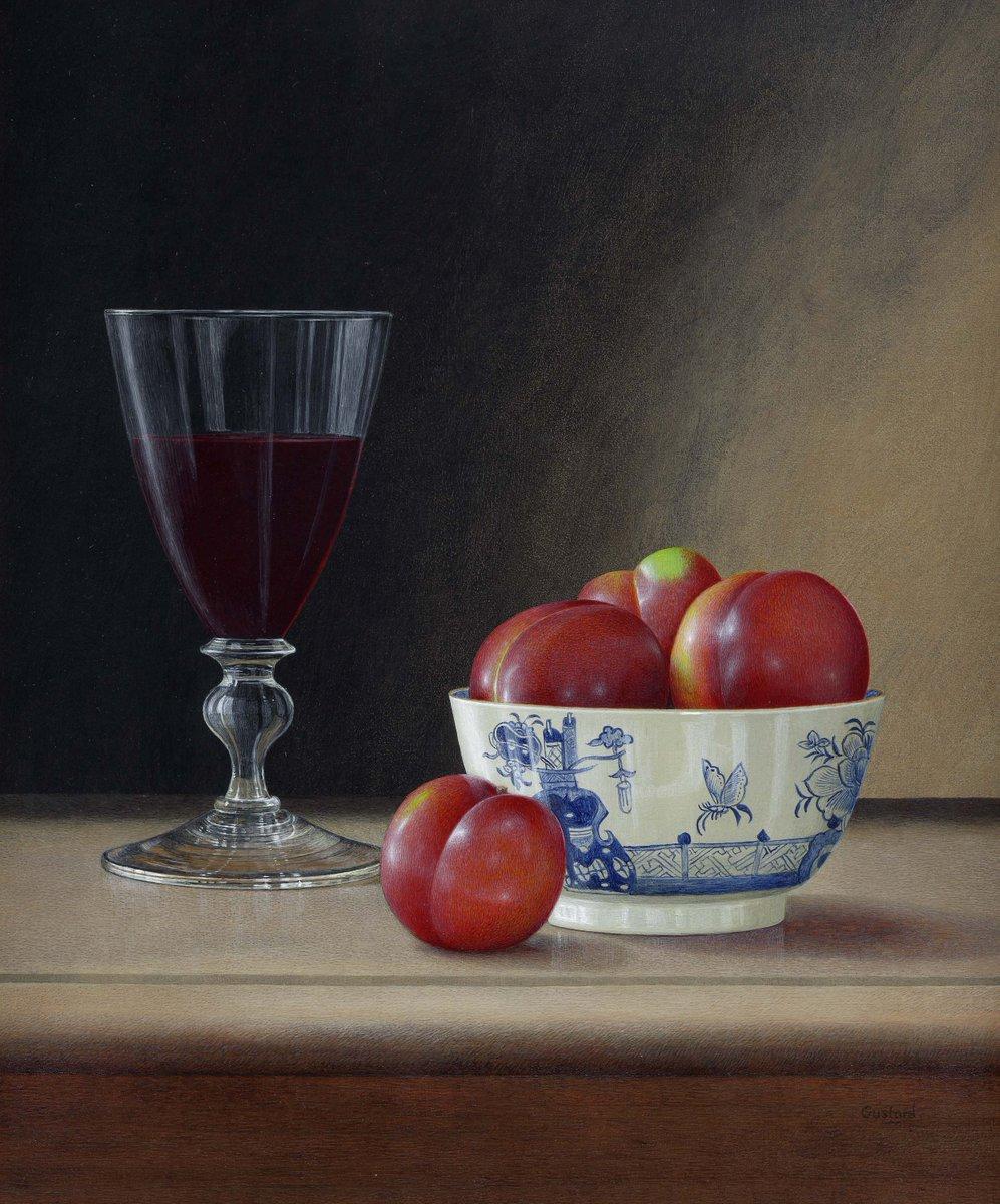 acrylic still life painting plum by tim gustard