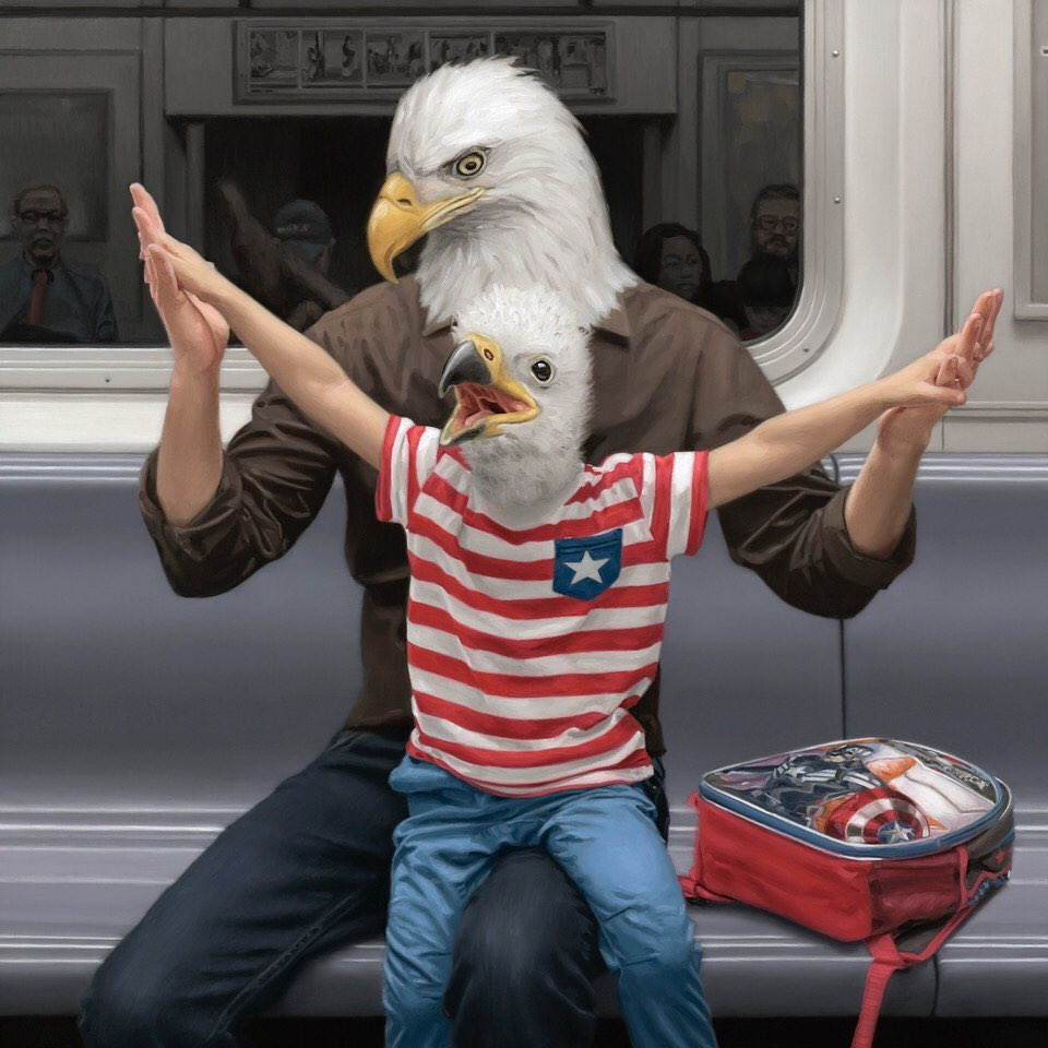 funny oil painting eagles by matthew grabelsky