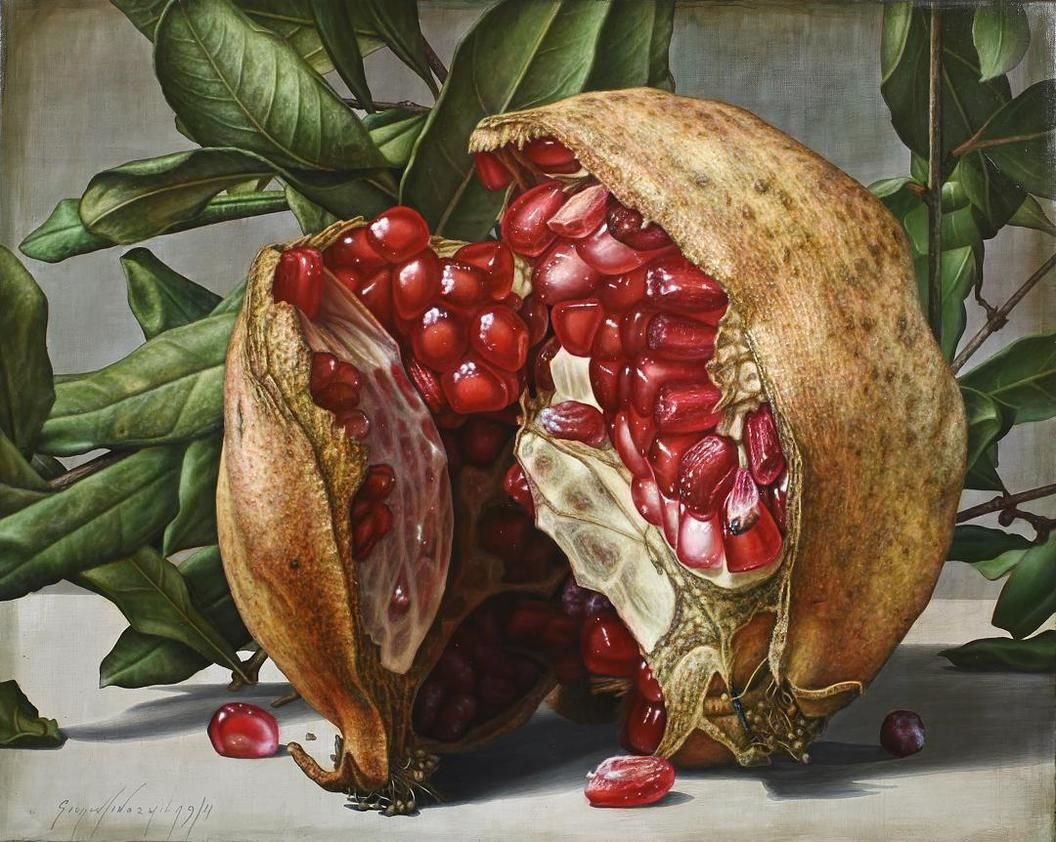 oil painting pomegranate