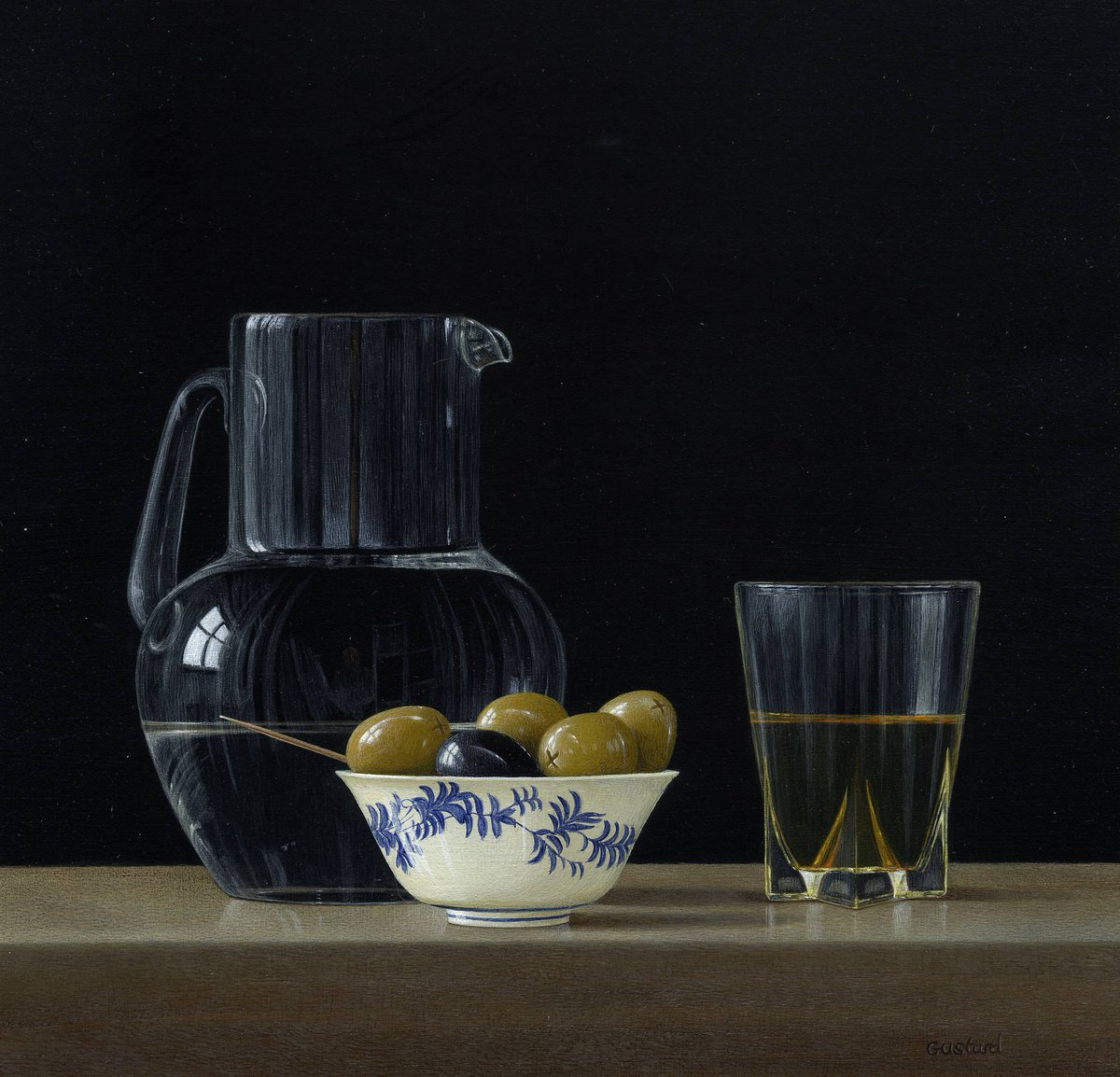 acrylic still life painting olive oil by tim gustard