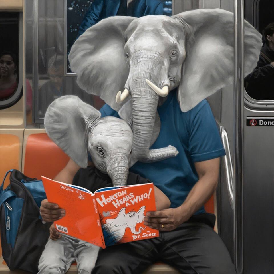 funny oil painting elephant by matthew grabelsky