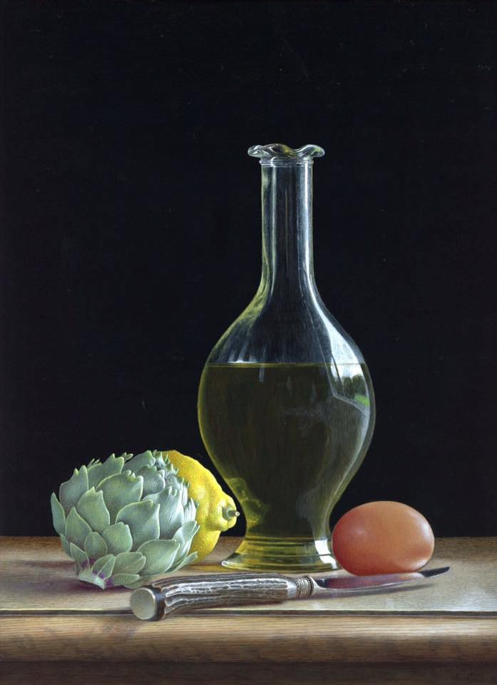 acrylic still life painting reflection by tim gustard