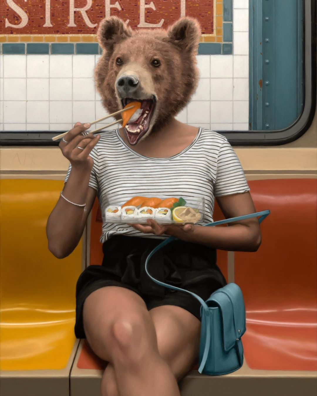 funny oil painting hungry bear