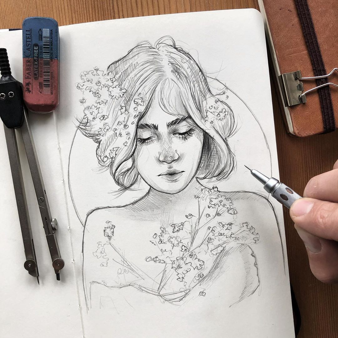 pencil drawing flower girl