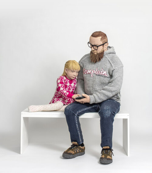 crochet sculpture father daughter