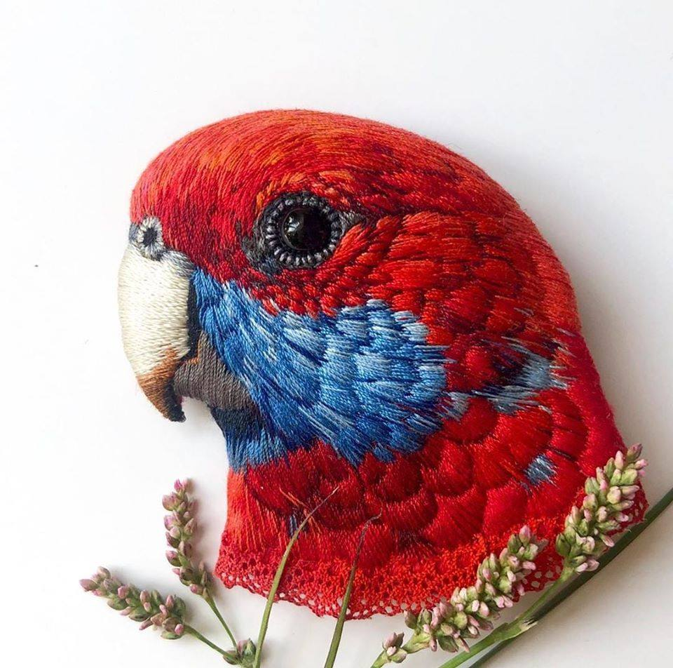 embroidery art red bird by paulina bartnik