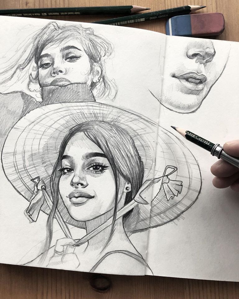 pencil drawing hat girl