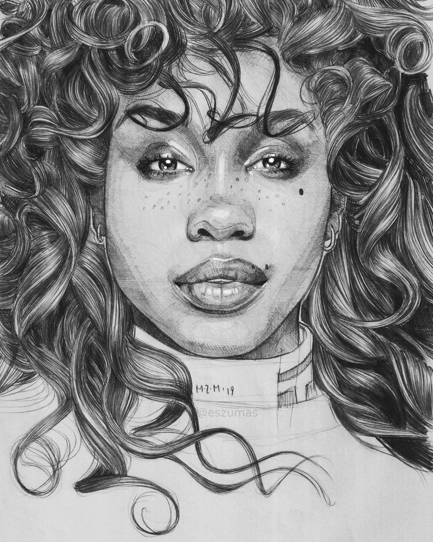 pencil drawing sza