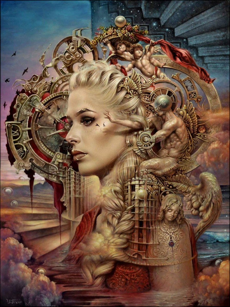 surreal oil painting clock woman