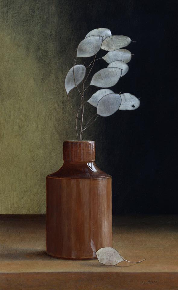 acrylic still life painting white leaf by tim gustard