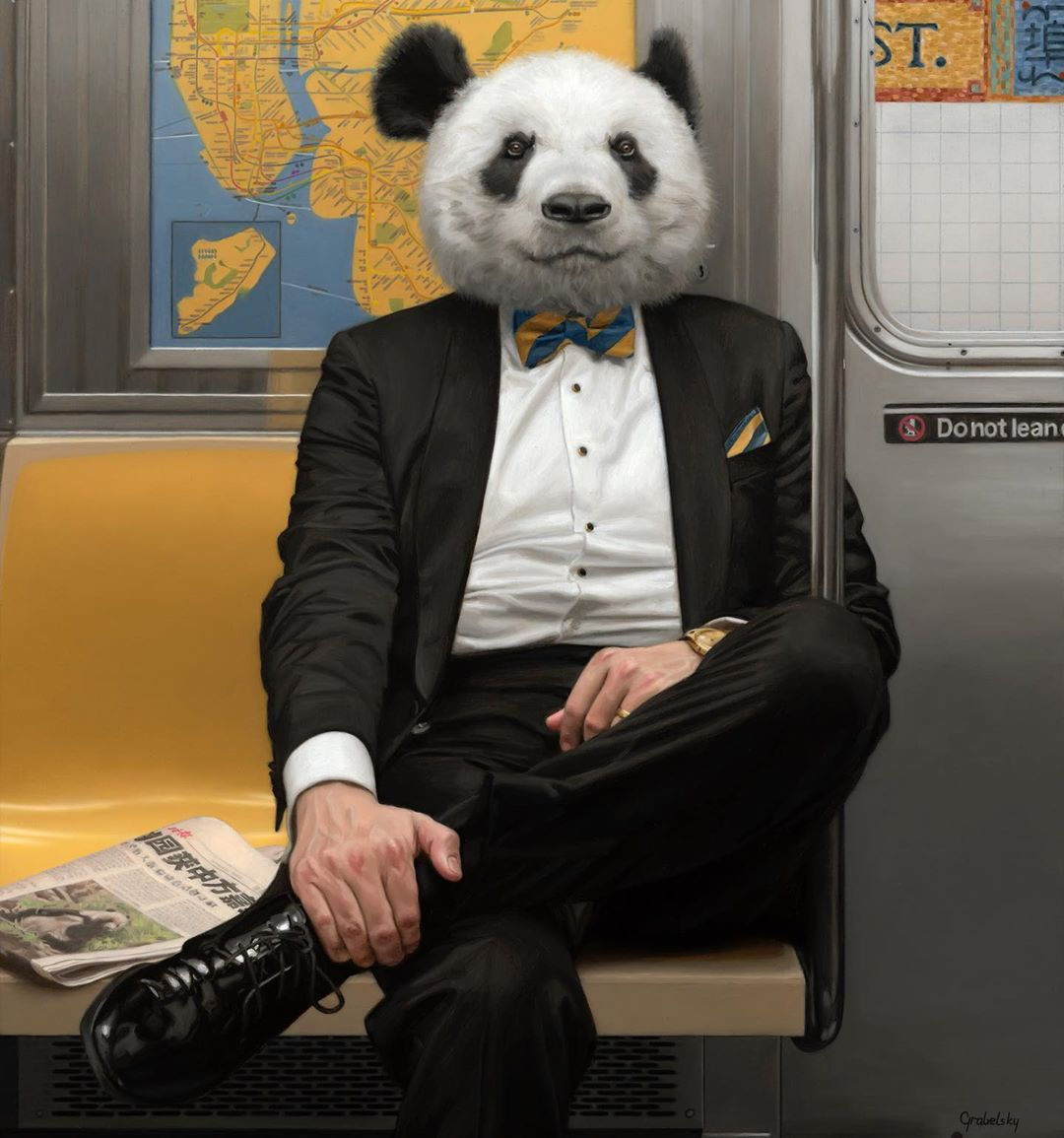 funny oil painting panda man by matthew grabelsky