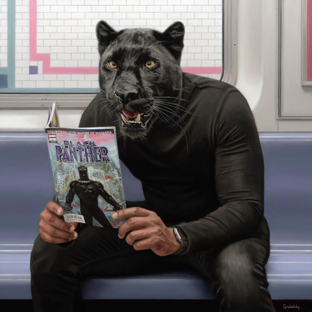 funny oil painting panther by matthew grabelsky