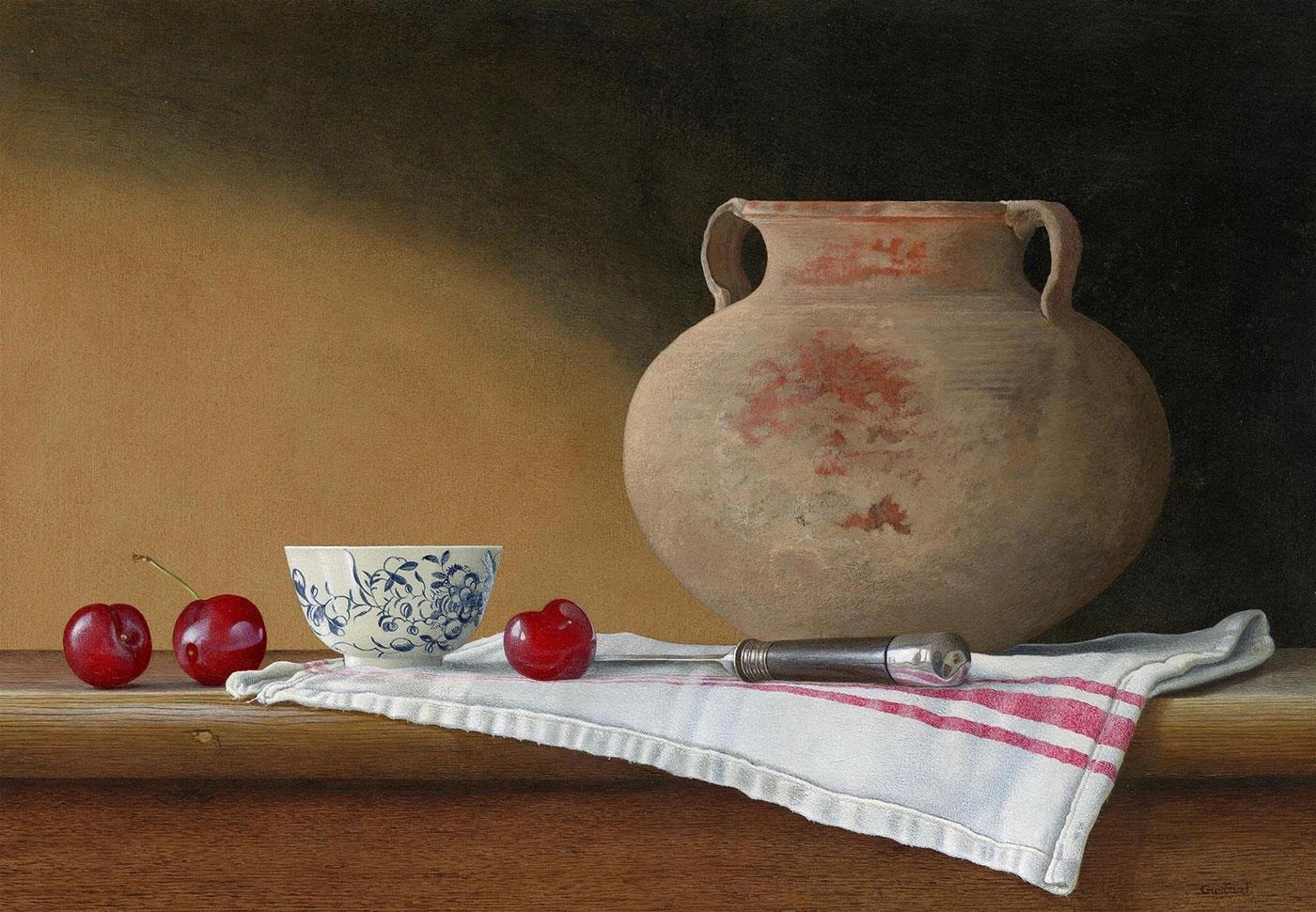 acrylic still life painting pot cherry by tim gustard