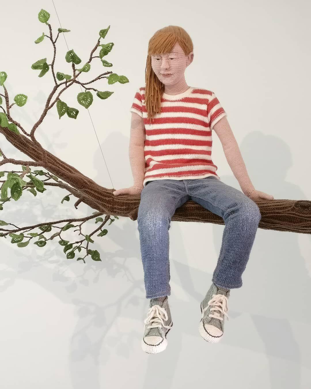 crochet sculpture girl tree