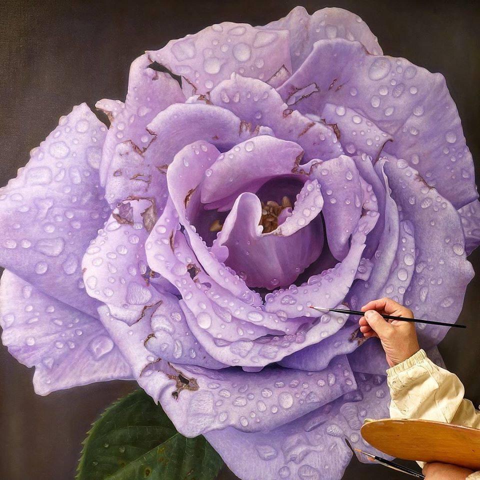 oil painting purple rose