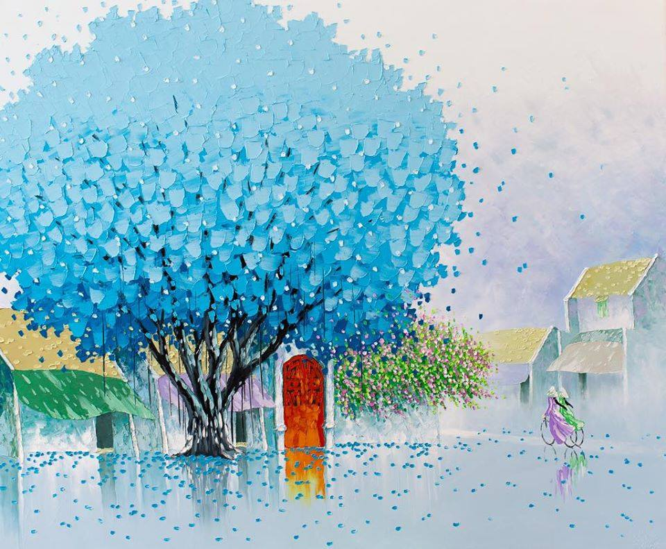 oil paintings blue tree