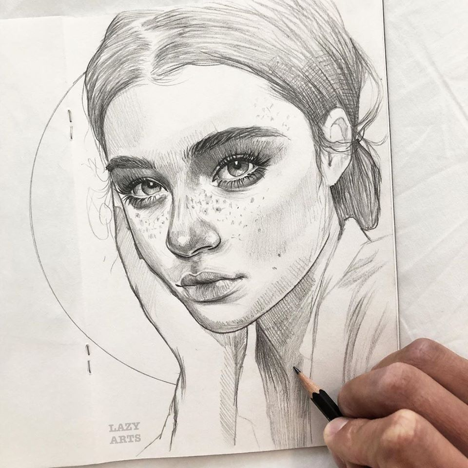 pencil drawing lady