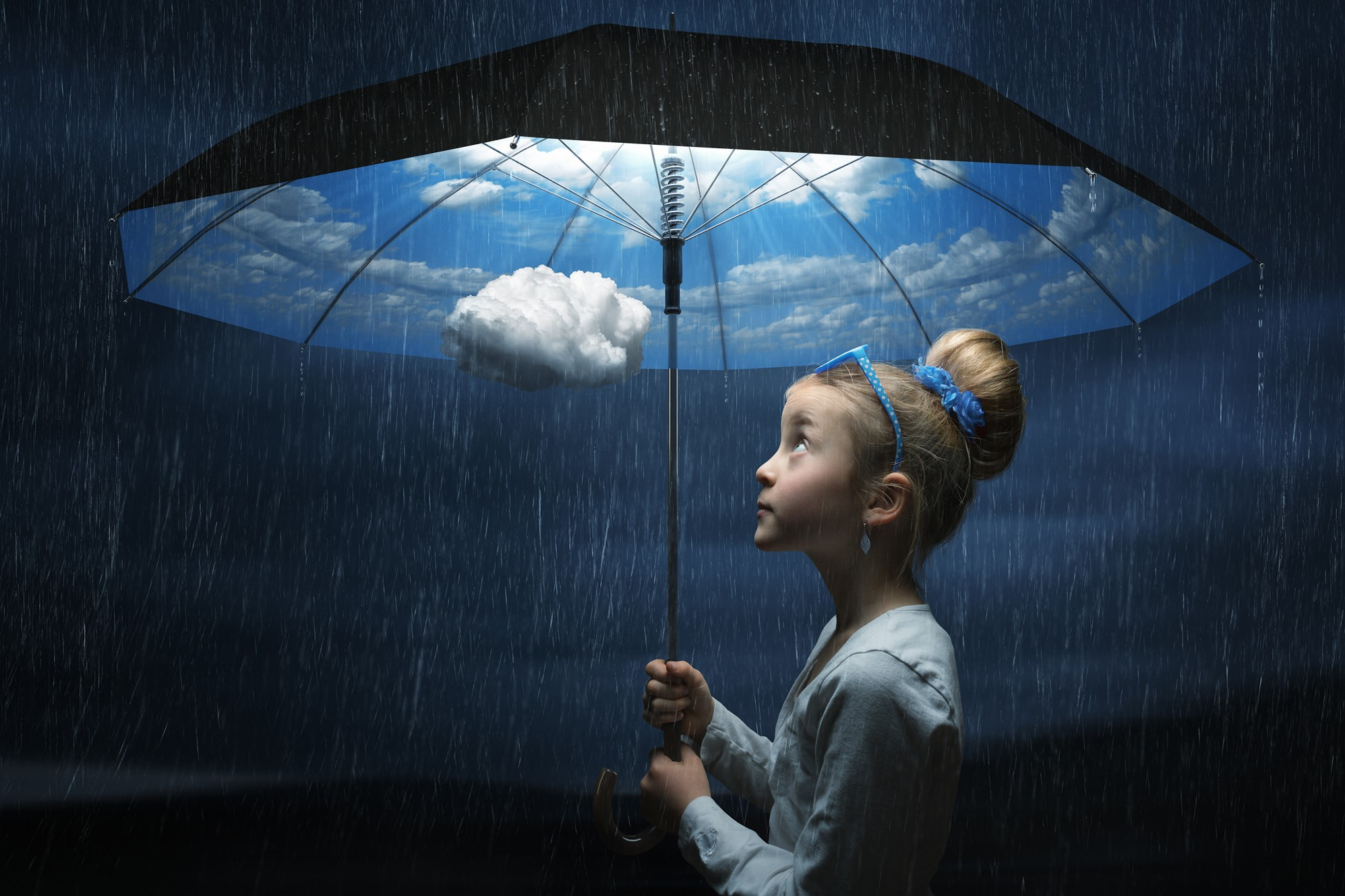photo manipulation girl umbrella cloud