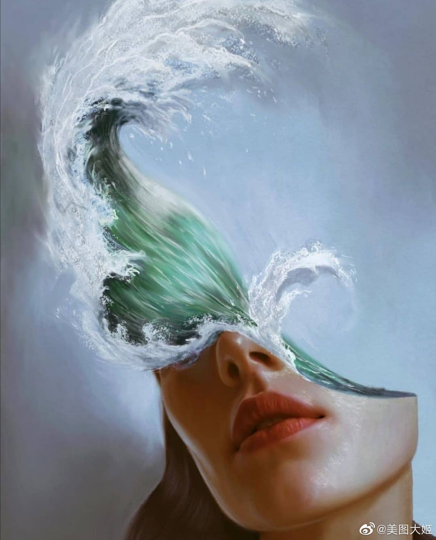 surreal artworks wave face