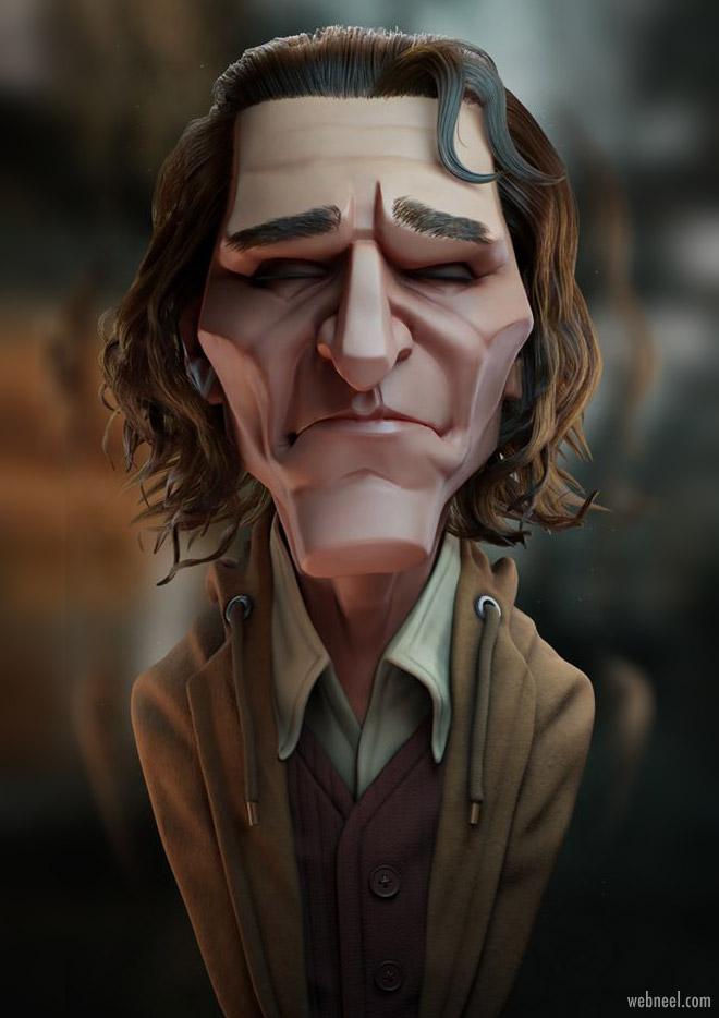 3d model caricature joker by arthur fleck