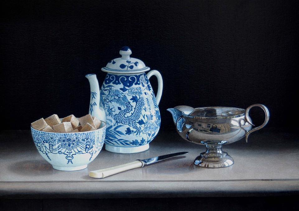 acrylic still life painting tea time