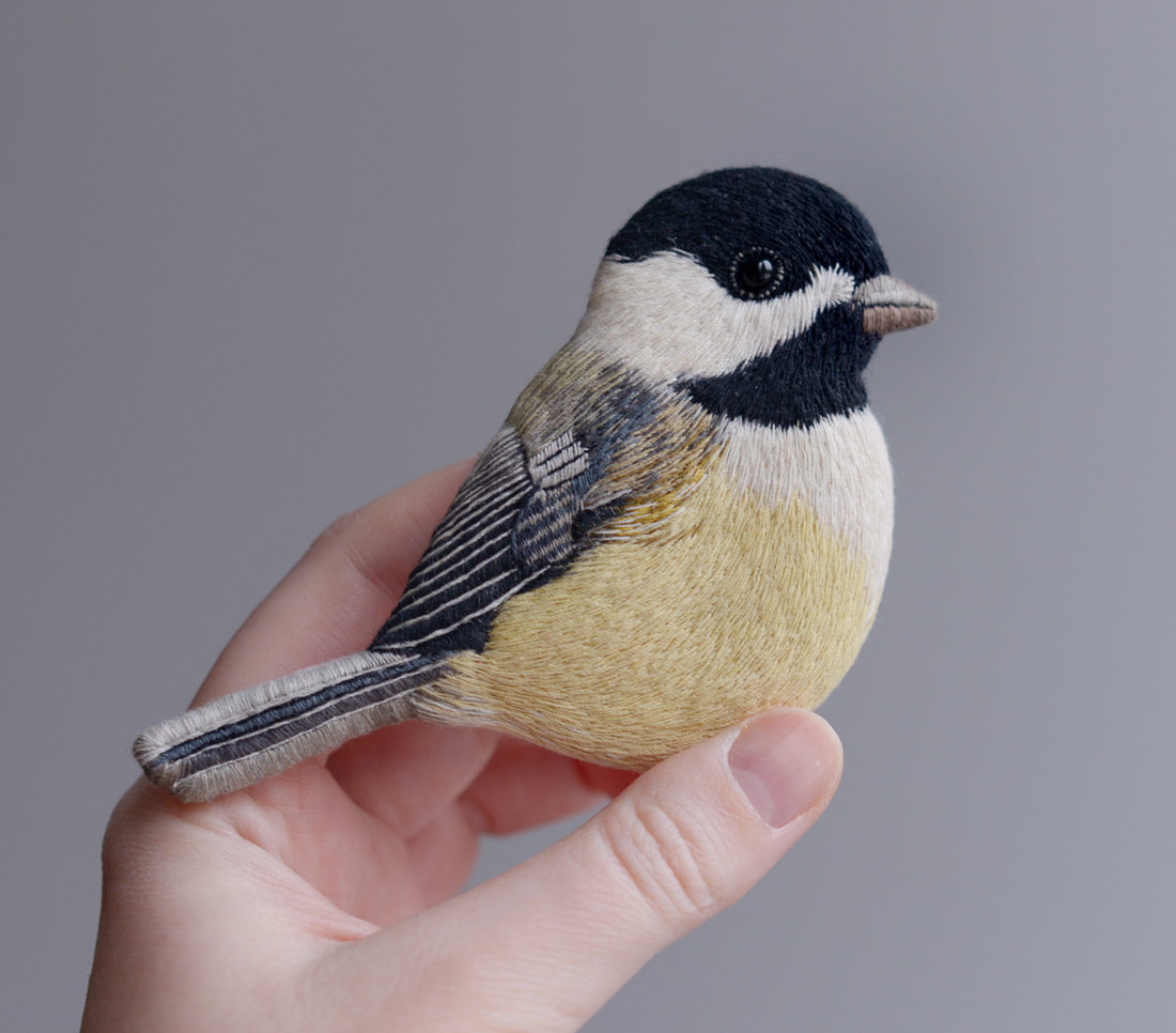 embroidery art tiny bird by paulina bartnik