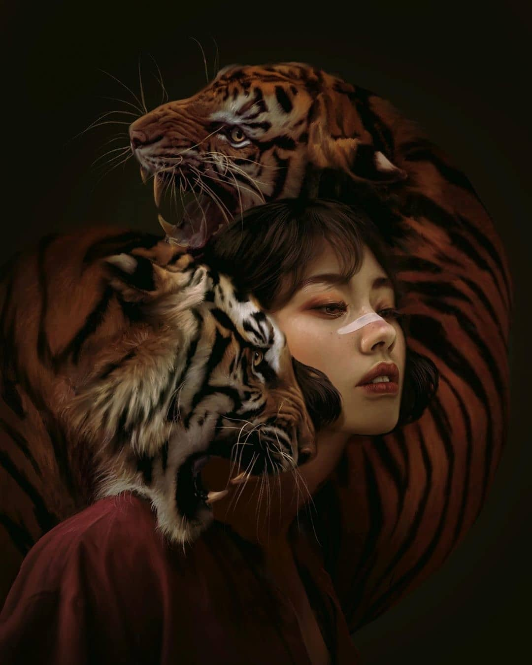 surreal artworks tigers