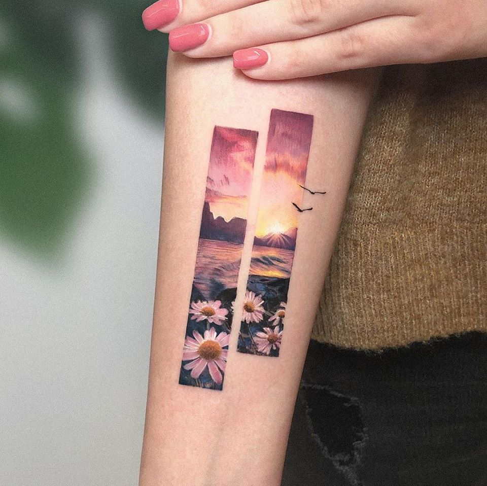 tattoo art sunrise by eden kozo