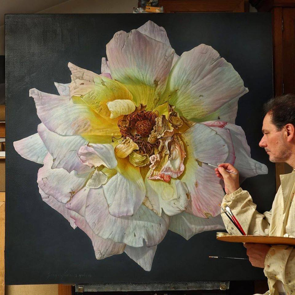 oil painting light pink rose